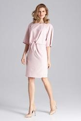 Różowa sukienka przed kolana z wiązaniem w talii