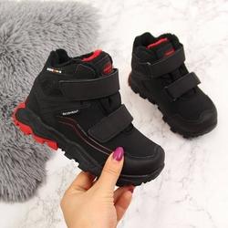 Buty trekkingowe dziecięce wodoodporne ocieplane american club - czarny  czerwony
