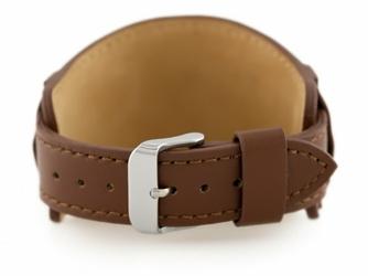 Pasek skórzany do zegarka W85 - podkładka - brązowy - 20mm