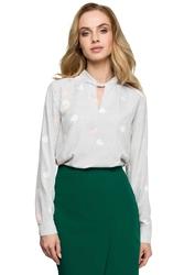 Elegancka bluzka z wzorem z ozdobnym dekoltem - model 2