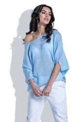 Niebieska Bluzka Swetrowa z Kimonowym Rękawem 34