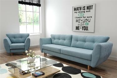 Zestaw kanapa z fotelem nordik funkcja spania
