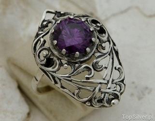 Burma - srebrny pierścionek z ametystem