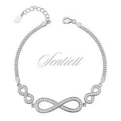 Srebrna, piękna bransoletka pr.925 cyrkonia biała - nieskończoność