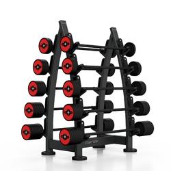 Zestaw sztang gumowanych 10-55 kg czerwony połysk ze stojakiem mf-s001 - marbo sport