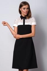 Elegancka czarna sukienka na wieczór z kołnierzykiem polo ii