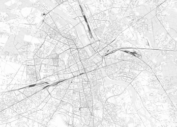 Warszawa - czarno-biała mapa miasta - fototapeta