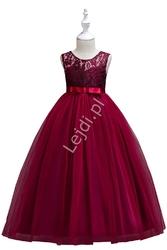 Długa sukienka tiulowa dla dziewczynki w kolorze wina na wesele 006