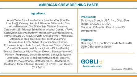 American crew defining pasta średnio utrwalająca do włosów  85g