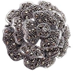 Rossi srebrna broszka z markazytami róża okrągła duża