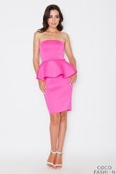Różowa Elegancka Sukienka Gorsetowa z Baskinką