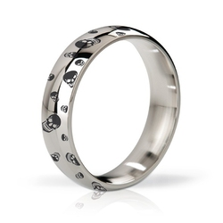 Stalowy pierścień na penisa - mystim his ringness earl polished  engraved 55m