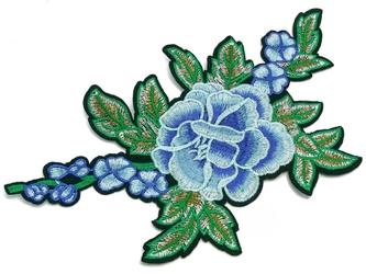 Naprasowanka termo aplikacja kwiaty niebieskie - mała
