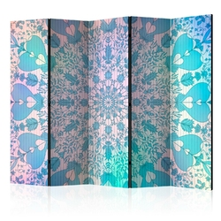Parawan 5-częściowy - dziewczęca mandala niebieski room dividers