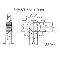 Zębatka przednia jt 50-35044-17, 17z, rozmiar 530 2201488 mzmuz 1000 1000