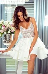Krótka sukienka z piankową spódnicą - biała z beżową górą leila