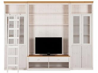 Potrójna witryna sosnowa z szafką rtv oraz drzwiczkami i drabinką anita iii biała z cokołem w kolorze naturalnym  288x34x219 cm