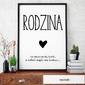 Rodzina - plakat typograficzny , wymiary - 70cm x 100cm, ramka - czarna , wersja - białe napisy + czarne tło