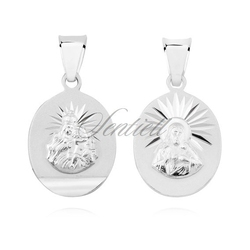 Srebrny medalik 925 jezus matka  boska szkaplerzna o owalnym kształcie