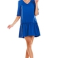 Niebieska mini sukienka z dekoltem v