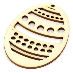 Drewniane jajko - zawieszka - w kropki - 02