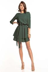 Sukienka z rozkloszowanym podwójnym dołem - khaki