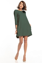 Sukienka marszczona na plecach z kieszeniami t326 khaki