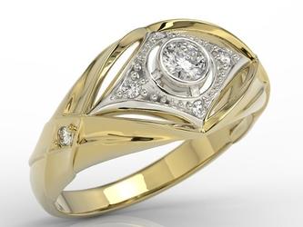 Pierścionek z żółtego i białego złota z brylantami ap-9924zb