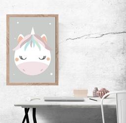 Jednorożec szare tło - plakat wymiar do wyboru: 42x59,4 cm