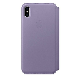 Apple etui skórzane folio iphone xs max - liliowe