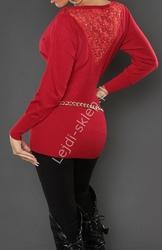 Czerwona bluzka dzianinowa  elegancki sweter - nietoperz z koronką 8055