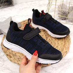 Buty sportowe chłopięce na rzep granatowe american club - granatowy