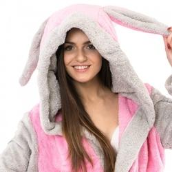 Ciepły pluszowy szlafrok króliczek