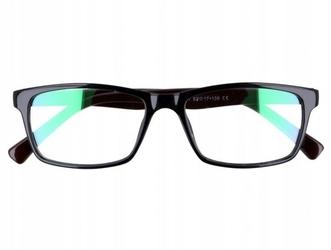 Okulary z filtrem antyrefleksyjne zerówki nerdy 9511a czarno-brązowe