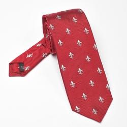 Elegancki czerwony krawat jedwabny Ascot w srebrne lilijki