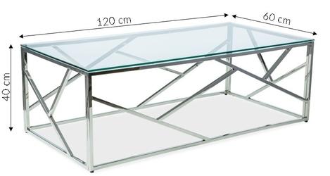 Szklana ława tan 2 nowoczesny chrom