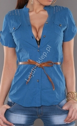 Niebieska koszula z brązowym paskiem | elegancka bluzka koszulowa , 100 bawełna