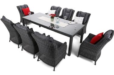 Zestaw ogrodowy stół + 8 foteli 230 cm Clifton ciemnoszary