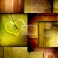 Obraz tła z elementem projektu serca na brązu i zieleni