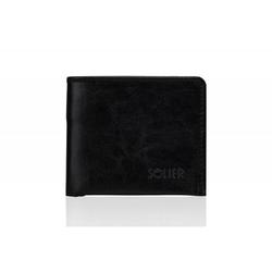 Czarny męski portfel skórzany solier sw05b