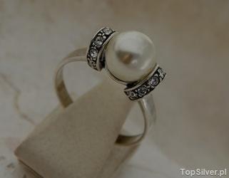 Cannes - srebrny pierścionek perła i kryształy