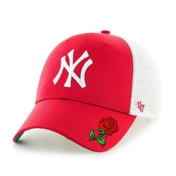 Czapka z daszkiem 47 brand mlb new york yankees 47 mvp trucker czerwona custom rose - b-brans17ctp-rd