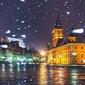 Warszawa plac zamkowy w śniegu - plakat premium wymiar do wyboru: 84,1x59,4 cm