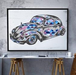 Garbus - plakat designerski , wymiary - 18cm x 24cm, ramka - biała