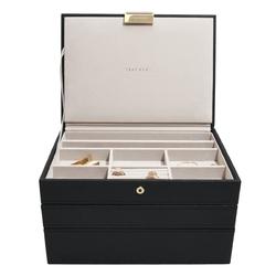 Pudełko na biżuterię, potrójne czarne classic stackers