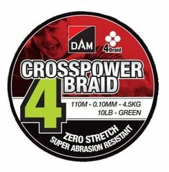 Plecionka DAM Crosspower 4-Braid 0.10MM 4,5KG10LB110M - Green