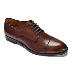 Eleganckie brązowe skórzane buty męskie z noskiem typu derby 42