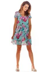 Zielona Mini Sukienka Zwiewna na Lato