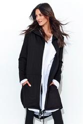 Czarna długa bluza z kapturem z ozdobnymi suwakami na rękawach