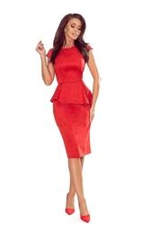 Czerwonasukienka z baskinkąasymetryczny fason